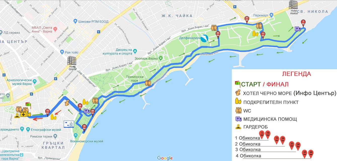 marathonvarna42km Трасе